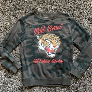Zara Boys Camo & Tiger Graphic Crewneck Sweatshirt